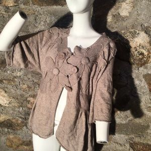 Knitted & knotted NWOT floral cardigan wool/angora